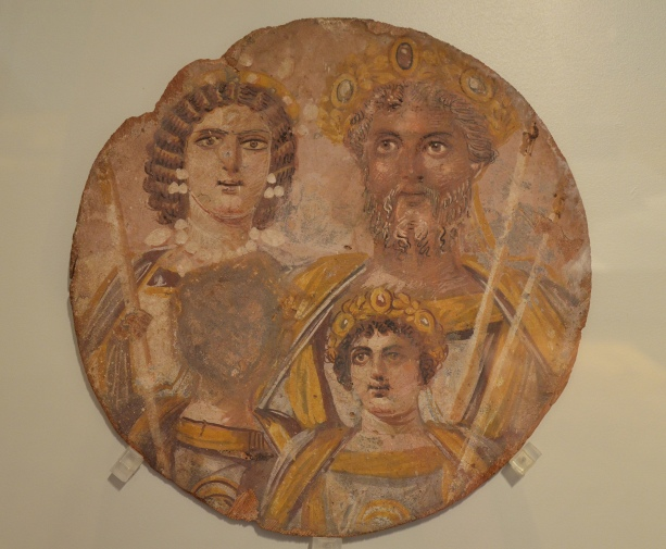 Tondo showing the Severan dynasty: Septimius Severus with Julia Domna, Caracalla and Geta, whose face has been erased, probably because of the damnatio memoriae put against him by Caracalla, from Djemila (Algeria), circa AD 199-200 Neues Museum, Berlin © Carole Raddato