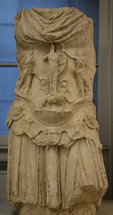 Marble torso of the Emperor Hadrian in military dress, from Cyrene, ca. 130-138, British Museum