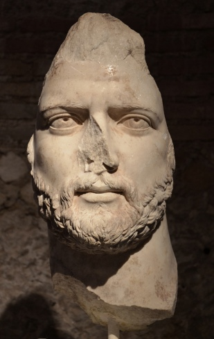 Fragmentary portrait head of Hadrian, from the Agora of Athens, AD 130-140, National Archaeological Museum of Athens