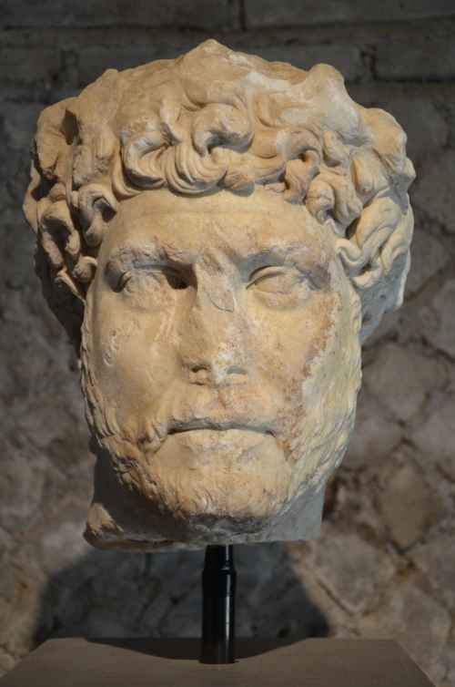Head of Hadrian wearing a wrealth of laurel leaves, discovered in 1988 to the South of the Roman Agora, between AD 128/129 or 131/132, Library of Hadrian, Athens