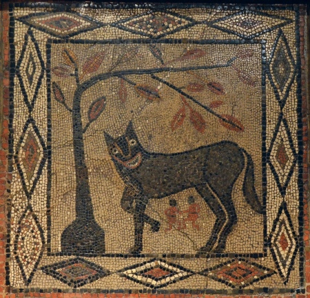 Mosaic depicting the She-wolf with Romulus and Remus, from Aldborough, about 300-400 AD, Leeds City Museum