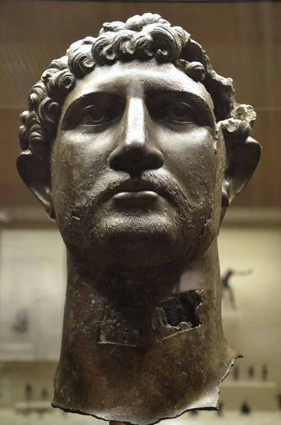 Bronze head from a statue of the Emperor Hadrian, Romain Britain, British Museum
