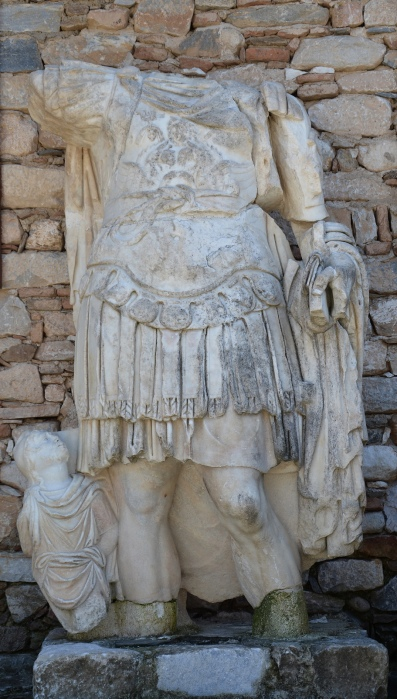Headless statue of Hadrian (?) wearing a cuirass with a barbarian kneeling a this feet, Aphrodisias, Turkey