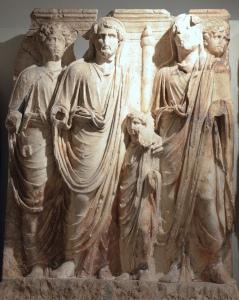 """Marcus Aurelius, Antoninus Pius, small Lucius Verus and Hadrian, a scene of a cycle """"Adoption"""" of the Parthian frieze from Ephesus, the Parthian Monument reliefs, post 169 AD, Ephesos Museum Vienna, Austria"""