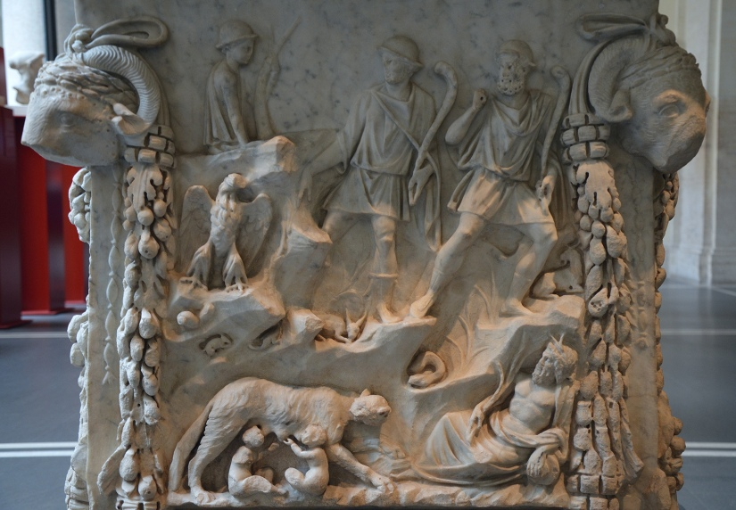 Representation of the lupercal: Romulus and Remus fed by a she-wolf, surrounded by representations of the Tiber and the Palatine © Carole Raddato