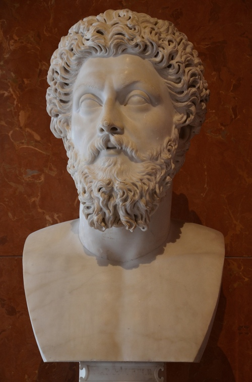 Marcus Aurelius, between 180 and 183 AD, from the villa of Marcus Aurelius daughter Lucilla at Acqua Traversa, near Rome (Italy), Louvre Museum, Paris