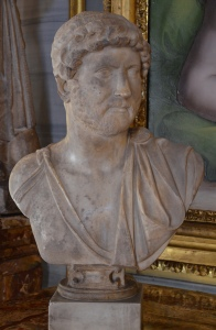 Nude bust of Hadrian with paladamentum (type: Chiaramonti 392), from Italy (perhaps from Bovillae), Palazzo Colonna, Rome