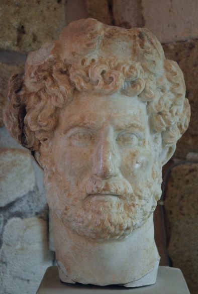 Head of a cuirassed statue of Hadrian. Found at the Sancturary of Diktynna (Diktynnaion) in 1913, Chania Archaeological Museum, Crete.