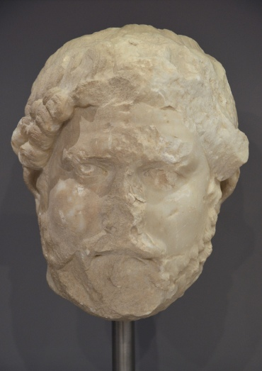 Marble head of Hadrian (type Imperatori 32), traces of colour are preserved at the iris of the eyes, Heraklion Archaeological Museum