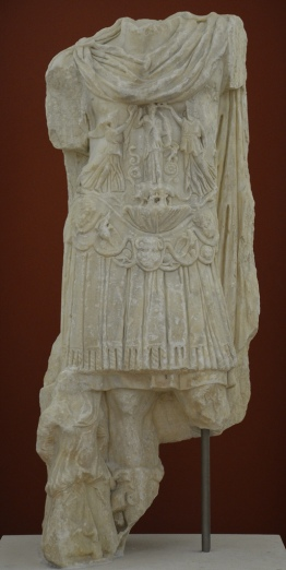 Headless statue of Hadrian wearing the military cuirass, found in Kissamos (Cisamus) in the vicinity of the Roman theatre, Kissamos Archaeological Museum
