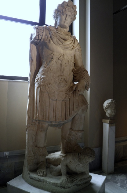 Statue of the Emperor Hadrian (117 - 138 AD), depicted as a terrible conqueror tramping over a defeated enemy, found in Crete, Istanbul Archaeology Museum