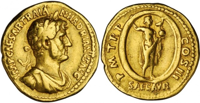 "Hadrian, Gold Aureus ""Saeculum Aureum,"" Rome Mint, 121 CE. Image © Stacks Bowers."