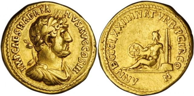 Gold Aureus of Hadrian struck to commemorate games held on April 21, 121 AD to mark the 874th birthday of the city of Rome. Image © Stacks Bowers.