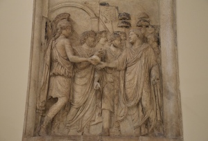 Aventus Augusti relief; Roma and the personification of the senate and the people of Rome receive Hadrian into the city (the head & hands of Hadrian and the hands of Roma are restored), once part of a triumphal monument to Hadrian, Musei Capitolini, Rome