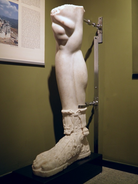 Lower part of a leg and foot with sandal of the over life-size statue of Hadrian found at Sagalassos in 2007, Burdur Museum © Carole Raddato