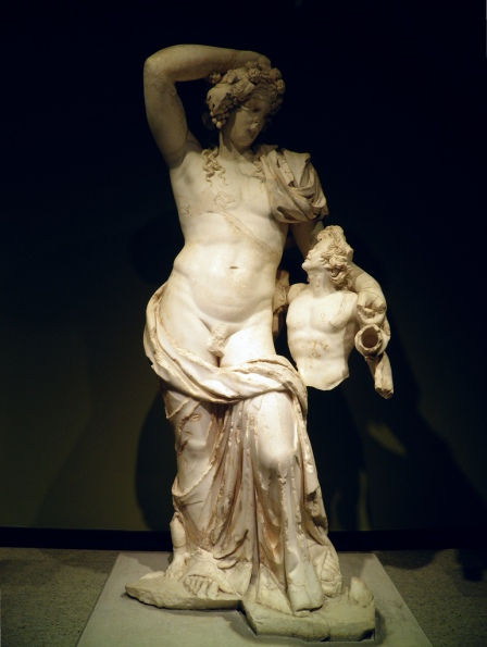 Marble statue of Dionysus and Satyr, from the eastern tabernacle of the Antonine Nympheum, 160-180 AD, Burdur Museum