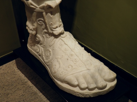 Lower part of a leg and foot with sandal of the over life-size statue of Marcus Aurelius found at Sagalassos in 2008, Burdur Museum © Carole Raddato