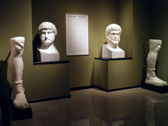 The heads and lower part legs of the colossal marble statues of Hadrian and Marcus Aurelius found at the Sagalassos Roman Baths complex, Burdur Museum © Carole Raddato
