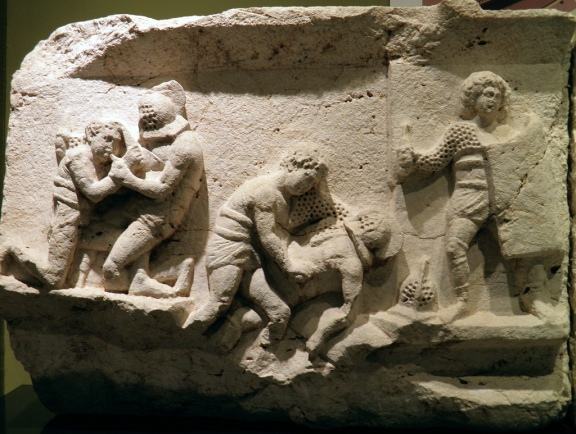 Frieze with gladiator figures, 2nd – 3rd century AD, from the necropolis at Kibyra, Burdur Museum © Carole Raddato