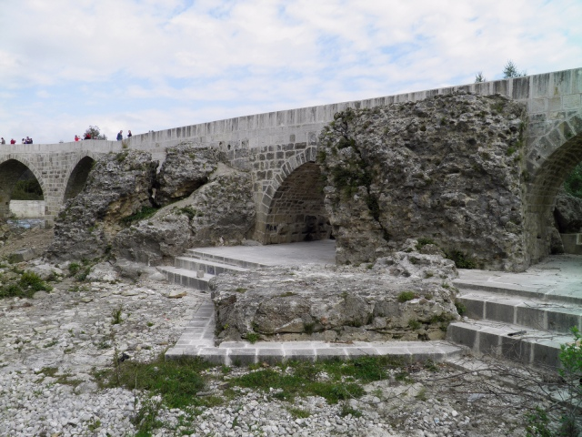 The Eurymedon Bridge near Aspendos, remains of the late Roman bridge foundations © Carole Raddato