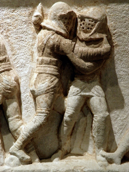 Detail of the frieze with gladiator figures, 2nd - 3rd century AD, from the necropolis at Kibyra, Burdur Museum © Carole Raddato