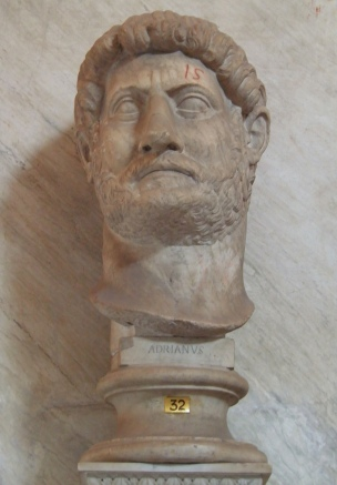 Colossal head of Hadrian (Chiaramonti 392 type), from excavations in Ostia, Museo Pio Clementino, Sala a Croce Greca, Vatican Museums