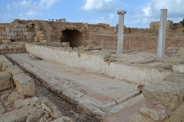 The public latrine at Caesarea (Israel) dating to the Byzantine period.