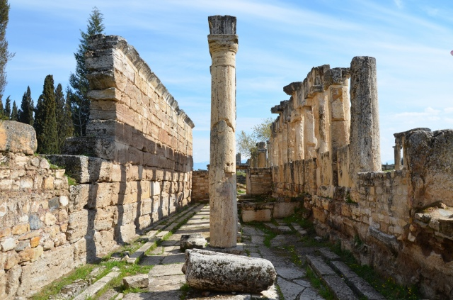 The latrine along Frontinus Street (colonnaded street), the room is divided longitudinally by a row of columns that supported a roof composed of travertine blocks, built in the end of the 1st century AD, Hieropolis, Turkey