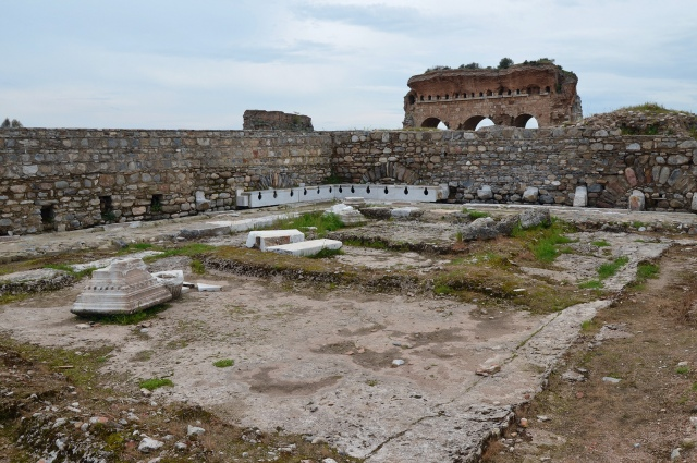 The latrines of the gymnasium at Tralles (Turkey). They are one of the largest Roman latrines in Turkey with a capacity of 65 people.