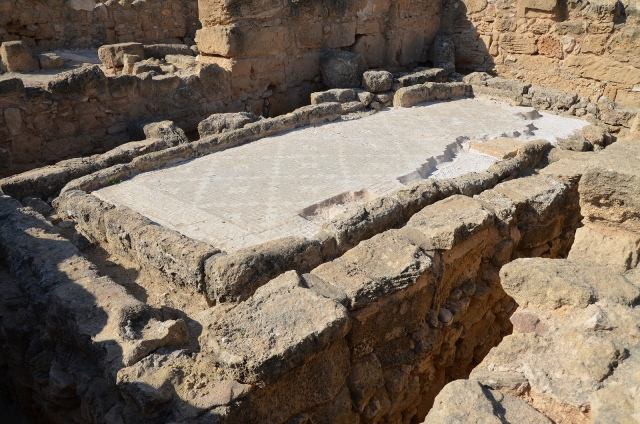 Latrine for 12-14 people in the House of Theseus at Paphos decorated with a geometric mosaic, South Wing Paphos Archaeological Park, Cyprus