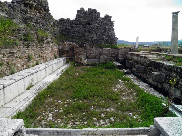 The partly restored public latrinces at Magnesia ad Maeandrum (Turkey)