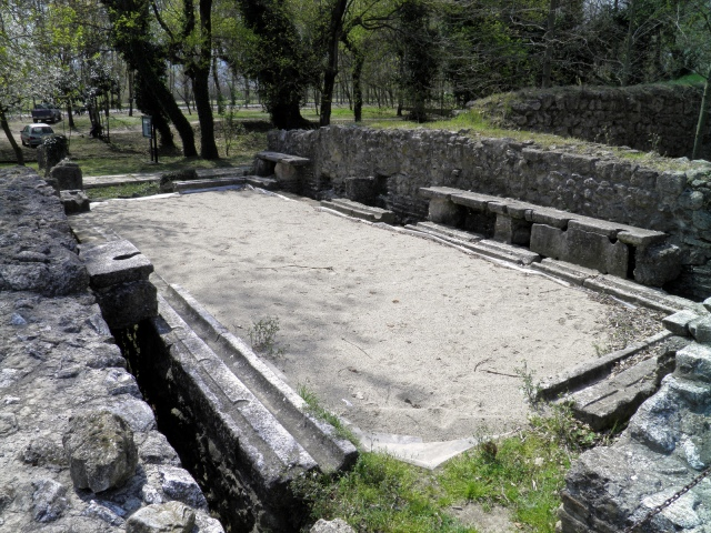 Latrine of the Greath Baths complex at Ancient Dion, Greece