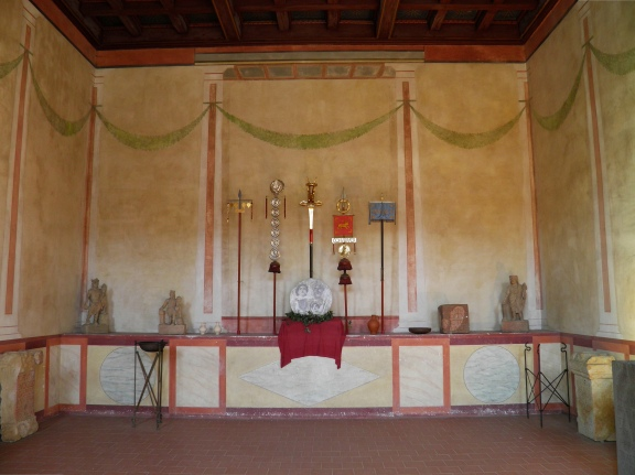The Aides, or shrine, at the centre of the office block on the far side of the headquarters building, where the regimental standards were preserved and kept on display, Saalburg Roman Fort