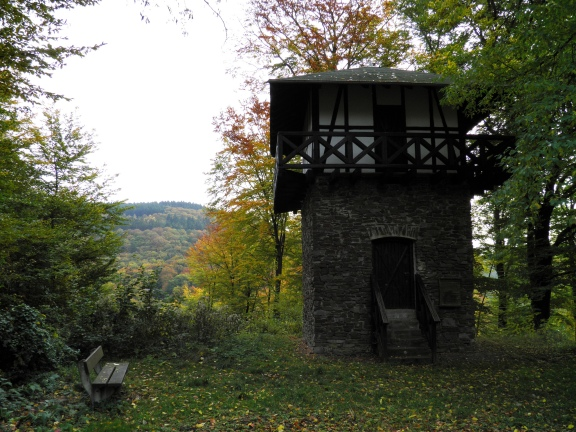 WP 1/37 - Reconstructed two-floored Limes Watchtower (not historically correct), near Oberbieber, Germany