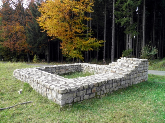 Reconstructed foundations of the Limes watchtower WP 1/71 near Hillscheid, Germany