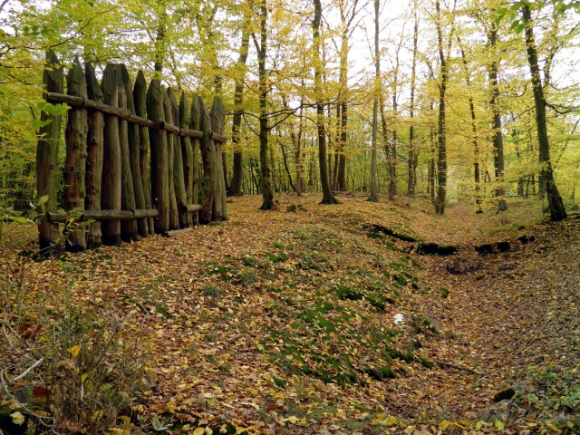Preserved wall lines and reconstructed palisade near watchtower 2/2