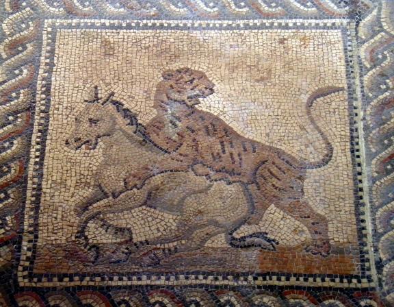 Gladiator mosaic floor, 3rd century AD, Römerhalle, Bad Kreuznach Carole Raddato