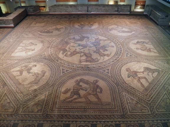 Gladiator mosaic floor, 3rd century AD, Römerhalle, Bad Kreuznach © Carole Raddato