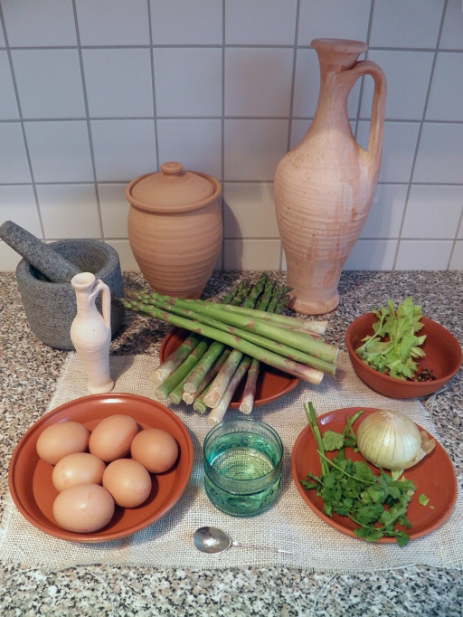 Aliter patina de asparagis – ingredients © Carole Raddato