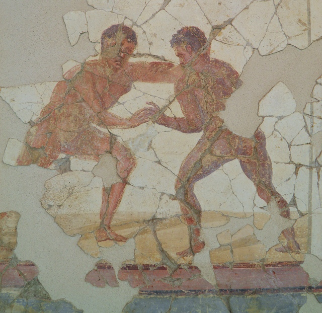 Fresco from the luxurious latrine of the Baths of the Wrestlers depicting wrestlers, 3rd century AD, Saint-Romain-En-Gal (France)
