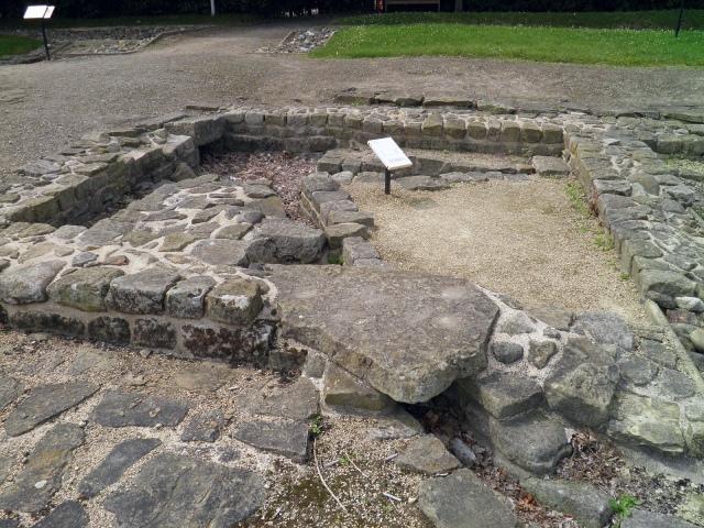 TYhe Hospital latrine at Segedunum Fort along Hadrian's Wall.