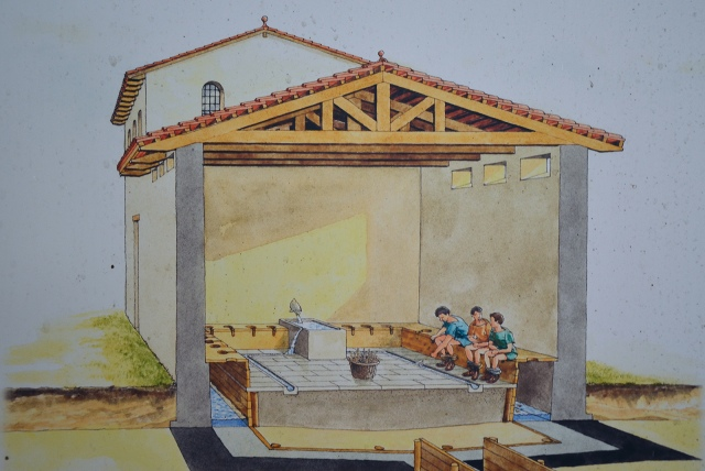 Reconstruction drawing of public Latrine at Forum Hadriani (Germania Inferior).