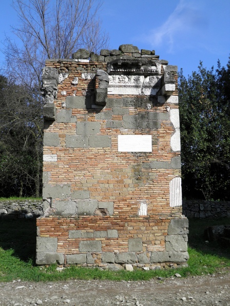 The reconstructed brickwork tomb of M. Servilius Quartus © Carole Raddato