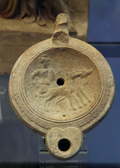 Terracotta oil lamp depicting Mars in chariot, 2nd century AD