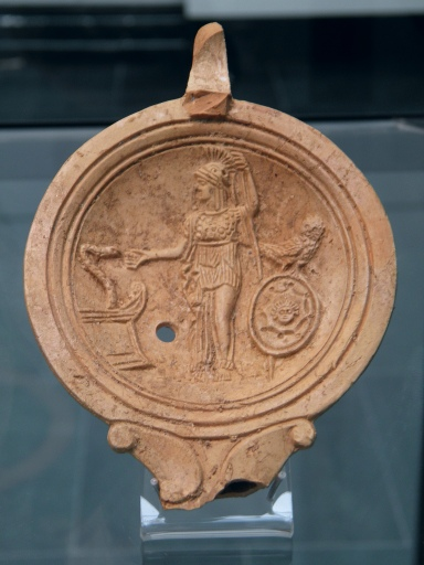 Oil lamp depicting Athena/Minerva, 1st century AD
