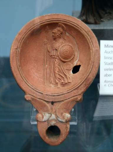 Minerva, terracotta Roman oil lamp 1st cent. AD