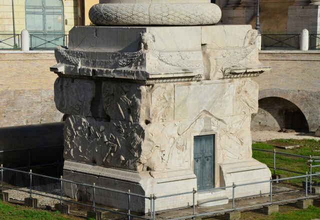 Pedestal base of Trajan's Column depicting a variety of Dacians arms & armour, Rome © Carole Raddato