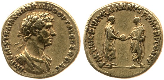 Gold coin. 117 AD. (obverse) Bust of Hadrian, laureate, draped and cuirassed, right. (reverse) Trajan and Hadrian standing right and left, holding globe between them. © The Trustees of the British Museum