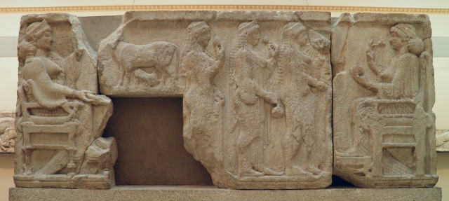 The Harpy Tomb reliefs, west side, three girls carrying offerings with enthroned female figures at either end, about 480 BC, British Museum, London © Carole Raddato