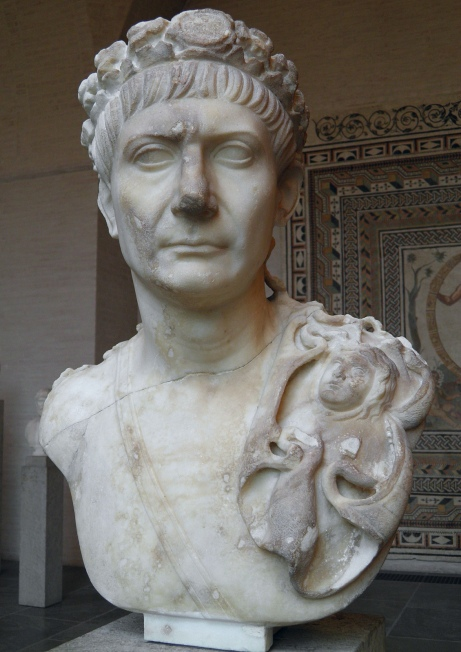 Bust of Trajan wearing the Civic Crown with medallion, a sword belt and the aegis (as symbol of divine power and world domination), Glyptothek, Munich Carole Raddato